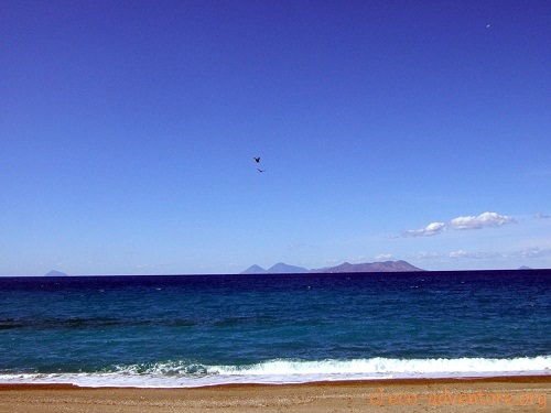 view from lonely beach to the aeolian islands