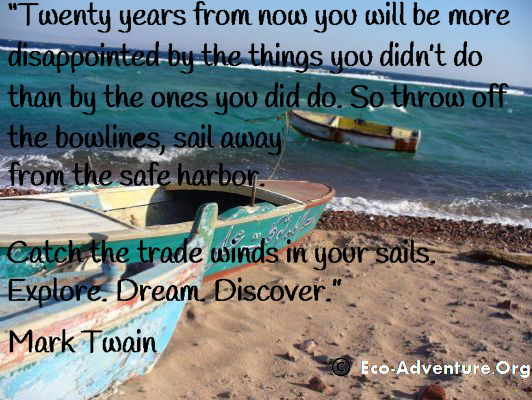 Twenty years from now you will be more disappointed by the things you didn't do than by the ones you did do. So throw off the bowlines, sail away from the safe harbor. Catch the trade winds in your sails. Explore. Dream. Discover. - By Mark Twain.